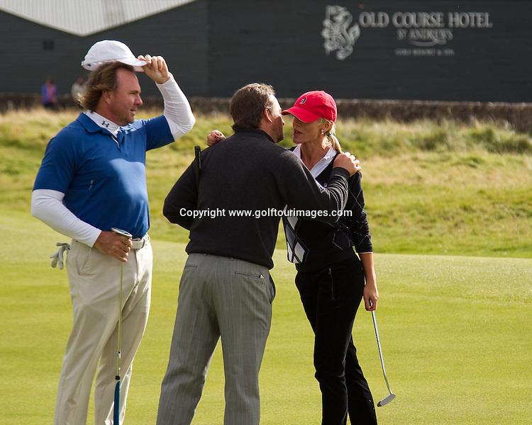 Lisa and John O'Hurley play at Carnoustie during the second round of the 2011 Alfred Dunhill Links Championship being played over the links at St Andrews, Carnoustie and Kingsbarns from 29th September to 2nd October 2011. Picture, Stuart Adams, www.golftourimages.com 30th September 2011
