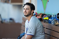 Durham Bulls starting pitcher Jacob Faria (36) sits in the dugout prior to the game against the Charlotte Knights at BB&T BallPark on May 15, 2017 in Charlotte, North Carolina. The Knights defeated the Bulls 6-4.  (Brian Westerholt/Four Seam Images)