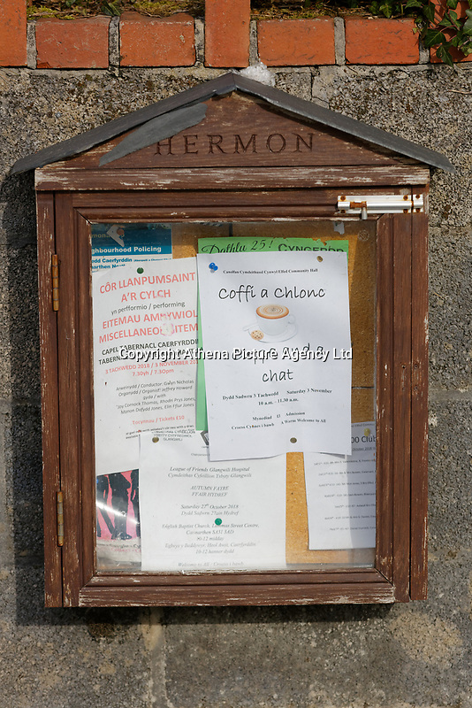 Local announcements in Hermon in Carmarthenshire, Wales, UK. Wednesday 31 October 2018