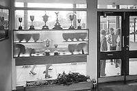 Trophies, Whitworth Comprehensive School, Whitworth, Lancashire.  1970.