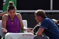 BOGOTA -COLOMBIA. 13-04-2017. Sara Sorribes Tormo (ESP) reacciona ante su entrenador Jorge Garcia Alex durante juego contra Magda Linette (POL) de cuartos de final del Claro Open Colsanitas WTA 2017 jugado en el Club Los Lagartos en Bogota. /  Sara Sorribes Tormo (ESP) reacts with her coach Jorge Garcia Alex during match against Magda Linette (POL) for the quater final of Claro Open Colsanitas WTA 2017 played at Club Los Lagartos in Bogota city. Photo: VizzorImage/ Gabriel Aponte / Staff