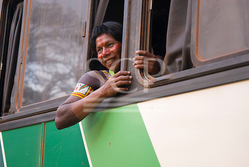 Altamira, Brazil. Encontro Xingu protest meeting about the proposed Belo Monte hydroeletric dam and other dams on the Xingu river and its tributaries. Kayapo on the bus.