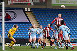 Katie Wilkinson of Sheffield United rises high to head the ball during the The FA Women's Championship match at the Proact Stadium, Chesterfield. Picture date: 12th January 2020. Picture credit should read: James Wilson/Sportimage