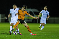 Friday  16 December 2014<br /> Pictured:  ( L-R ) Marco Dulca of Swansea City and Christian Herc  Wolverhampton Wonderers in action <br /> Re: Swansea City U18s v Wolverhampton Wonderers U18s, 3rd Round FA youth Cup Match at the Landore Training Facility, Swansea, Wales, UK