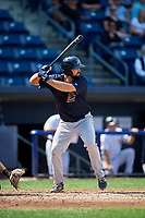 Lowell Spinners left fielder Devlin Granberg (35) at bat during a game against the Staten Island Yankees on August 22, 2018 at Richmond County Bank Ballpark in Staten Island, New York.  Staten Island defeated Lowell 10-4.  (Mike Janes/Four Seam Images)