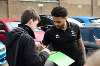 Lincoln City's Bruno Andrade signs autographs for fans after arriving at the ground<br /> <br /> Photographer Chris Vaughan/CameraSport<br /> <br /> The EFL Sky Bet League Two - Lincoln City v Macclesfield Town - Saturday 30th March 2019 - Sincil Bank - Lincoln<br /> <br /> World Copyright © 2019 CameraSport. All rights reserved. 43 Linden Ave. Countesthorpe. Leicester. England. LE8 5PG - Tel: +44 (0) 116 277 4147 - admin@camerasport.com - www.camerasport.com