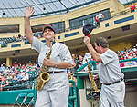 19 March 2015: The Walt Disney World Philharmonic Saxophone Quartet are introduced as they emerge from the dugout to entertain the fans prior to a Spring Training game between the Miami Marlins and the Atlanta Braves at Champion Stadium in the ESPN Wide World of Sports Complex in Kissimmee, Florida. The Braves defeated the Marlins 6-3 in Grapefruit League play. Mandatory Credit: Ed Wolfstein Photo *** RAW (NEF) Image File Available ***