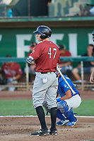 Tyler Straub (47) of the Idaho Falls Chukars bats against the Ogden Raptors at Lindquist Field on August 28, 2017 in Ogden, Utah. Ogden defeated Idaho Falls 7-1. (Stephen Smith/Four Seam Images)