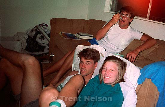 Trent Nelson, Laura and Ken Quayle at our first apartment, approx july 1991. &amp;#xA;<br />