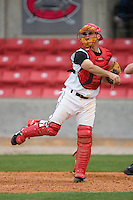 Catcher Chris Denove #7 of the Carolina Mudcats makes a throw to third base following a strike out at Five County Stadium May 18, 2009 in Zebulon, North Carolina. (Photo by Brian Westerholt / Four Seam Images)
