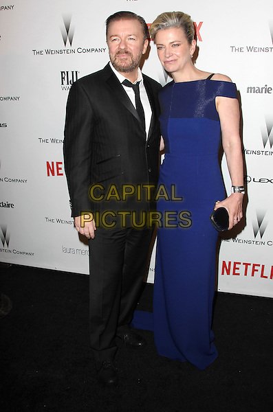 11 January 2015 - Beverly Hills, California - Ricky Gervais, Jane Fallon. The Weinstein Company and Netflix 2015 Golden Globes After Party celebrating the 72nd Annual Golden Globe Awards held at Robinsons May Lot.  <br /> CAP/ADM/KB<br /> &copy;KB/ADM/Capital Pictures