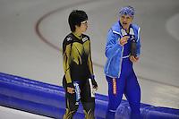 SCHAATSEN: HEERENVEEN: IJsstadion Thialf, 05-02-15, Training World Cup, Nao Kodaira (JPN), Karolina Erbanova (CZE), ©foto Martin de Jong