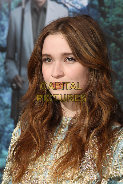 "Alice Englert.""Beautiful Creatures"" Los Angeles Premiere held at the TCL Chinese Theatre, Hollywood, California, USA. .February 6th, 2013.headshot portrait blue gold brocade embroidered beads beaded .CAP/CEL .©CelPh/Capital Pictures."