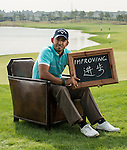 "Pablo Larrazabal was asked by Ballantine's at the BMW Masters to describe how he stays true to himself; his answer is shown. Ballantine's, who recently announced their new global marketing campaign, ""Stay True, Leave An Impression"", is a sponsor at the BMW Masters, which takes place from the 24-27 October at Lake Malaren Golf Club in Shanghai.  Photo by Andy Jones / The Power of Sport Images for Ballantines."