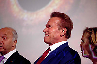 """Arnold Szwarzenegger and Laurent Fabius, presenting the documentary film """"Wonders of the sea"""", produced by Arnold Schwarzenegger and Francois Montello, directed by Jean-Michel Cousteau and Jean-Jacques Montello, with the support of R20, Di Caprio Fondation and Green Cross, Paris, France # ARNOLD SCHWARZENEGGER POUR LA PROJECTION DE 'WONDER OF THE SEA'"""