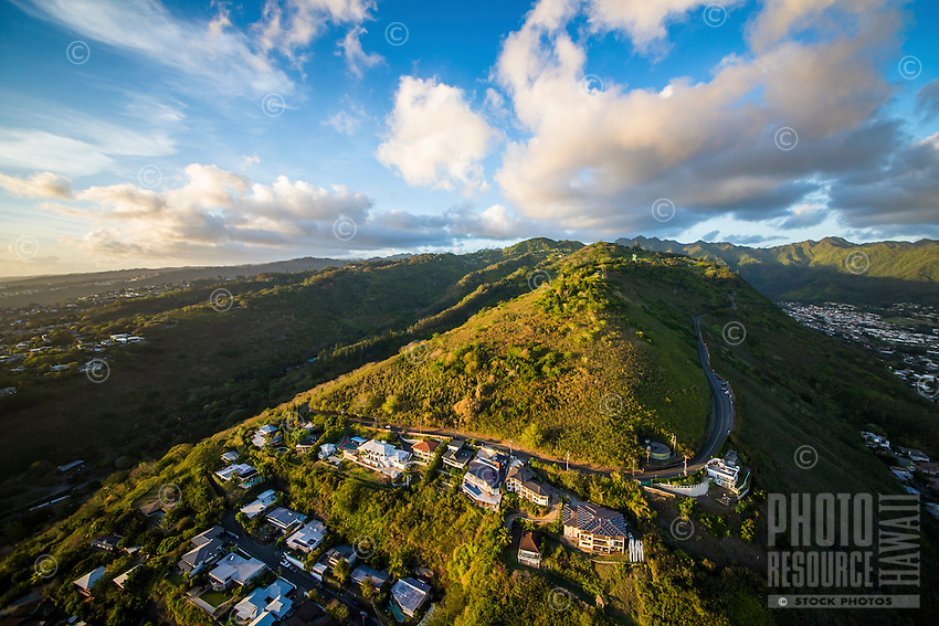 Tantalus Drive, with Manoa Valley on the right, Honolulu, O'ahu.