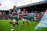 The Leicester Tigers team run onto the field. Gallagher Premiership match, between Leicester Tigers and Bristol Bears on April 27, 2019 at Welford Road in Leicester, England. Photo by: Patrick Khachfe / JMP
