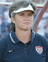 20 August 2004:   April Heinrichs, USA Women's Head Coach, against Japan during the quarterfinals at Kaftanzoglio Stadium in Thessaloniki, Greece.     USA defeated Japan, 2-1 .   Credit: Michael Pimentel / ISI