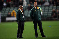 Springboks head coach Allister Coetzee (left) before the Rugby Championship match between the New Zealand All Blacks and South Africa Springboks at QBE Stadium in Albany, Auckland, New Zealand on Saturday, 16 September 2017. Photo: Shane Wenzlick / lintottphoto.co.nz
