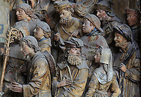 Senator Faustinien welcoming St Firmin to Amiens, Gothic style polychrome high-relief sculpture from the South side of the choir screen, 1490-1530, commissioned by canon Adrien de Henencourt, depicting the life of St Firmin, at the Basilique Cathedrale Notre-Dame d'Amiens or Cathedral Basilica of Our Lady of Amiens, built 1220-70 in Gothic style, Amiens, Picardy, France. St Firmin, 272-303 AD, was the first bishop of Amiens. Amiens Cathedral was listed as a UNESCO World Heritage Site in 1981. Picture by Manuel Cohen