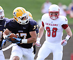 SIOUX FALLS, SD - SEPTEMBER 7:  Chad Curry #17 from Augustana returns a fumble for a touchdown past Wade Youngblom #88 from Minnesota State University Moorhead in the first quarter of their game Saturday at Augustana. (Photo by Dave Eggen/Inertia)