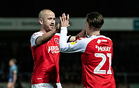Fleetwood Town's Paddy Madden (left) celebrates scoring his side's first goal with team mate Barrie McKay  <br /> <br /> Photographer Andrew Kearns/CameraSport<br /> <br /> The EFL Sky Bet League One - Wycombe Wanderers v Fleetwood Town - Tuesday 11th February 2020 - Adams Park - Wycombe<br /> <br /> World Copyright © 2020 CameraSport. All rights reserved. 43 Linden Ave. Countesthorpe. Leicester. England. LE8 5PG - Tel: +44 (0) 116 277 4147 - admin@camerasport.com - www.camerasport.com
