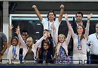 FLUSHING NY- SEPTEMBER 04: ***NO NY DAILIES*** Roger Federer's daughters Myla and Charlene (middle and far left) react after their dad defeats Philipp Kohlschreiber in straight sets  on Arthur Ashe Stadium during the US Open at the USTA Billie Jean King National Tennis Center on September 4, 2017 in Flushing Queens. Credit: mpi04/MediaPunch