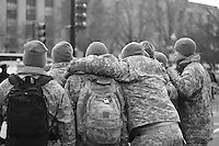 US troops pose for photos the day before the inauguration of Barack Obama as 44th President of the United States of America, Monday, Jan. 19, 2009, in Washington, D.C. (Marisa McGrody/pressphotointl.com)