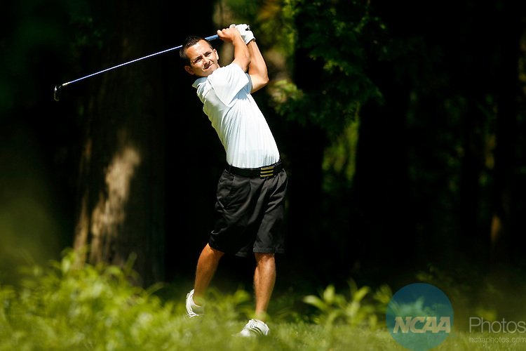 22 MAY 2009:  Micah Burke of CSU-San Bernardino tees off during the Division II Men's Golf Championship held at the Loomis Trail Golf Club in Blaine, WA.  Burke tied for 9th place with a +9 score.  Jamie Schwaberow/NCAA Photos
