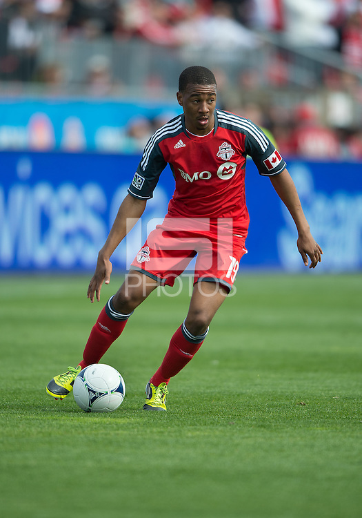 05 May 2012: Toronto FC midfielder Reggie Lambe #19 in action during an MLS game between DC United and Toronto FC at BMO Field in Toronto..D.C. United won 2-0.