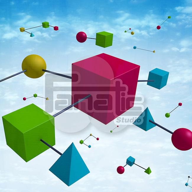 Illustrative image of geometrical shapes attached representing network