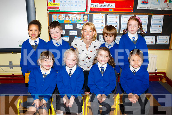 First Day for Kiltallagh NS Castlemaine Caroline Cronin's Junior Infants on Monday. Pictured Freya Clendennen, Kate Copithorne, Keziah Oghenekpevwese Coffey, Emiliana Flynn, Elena O'Neill, Dawn Teahan, Evan Clifford, Evan Wharton