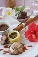 Afrique/Afrique de l'Est/Tanzanie/Zanzibar/Ile Unguja/ Stone Town: Assiette Chocolats, sorbet chocolat au piment, creme au chocolat, et mousse au chocolat au brandy, avec sirop aux épices et fruits exotiques recette de Waldema Müggenburg chef du Restaurant Mitoni Marine