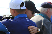 Alex Fitzpatrick (GB&I) and his brother Matthew Fitzpatrick on the 17th during the Foursomes at the Walker Cup, Royal Liverpool Golf CLub, Hoylake, Cheshire, England. 07/09/2019.<br /> Picture Thos Caffrey / Golffile.ie<br /> <br /> All photo usage must carry mandatory copyright credit (© Golffile | Thos Caffrey)