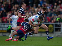 Exeter Chiefs' Ian Whitten is tackled by Bristol Bears' Charles Piutau<br /> <br /> Photographer Bob Bradford/CameraSport<br /> <br /> Gallagher Premiership Round 7 - Bristol Bears v Exeter Chiefs - Sunday 18th November 2018 - Ashton Gate - Bristol<br /> <br /> World Copyright © 2018 CameraSport. All rights reserved. 43 Linden Ave. Countesthorpe. Leicester. England. LE8 5PG - Tel: +44 (0) 116 277 4147 - admin@camerasport.com - www.camerasport.com