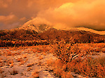 Clearing snow storm at sunset, Sandia Mountains, New Mexico