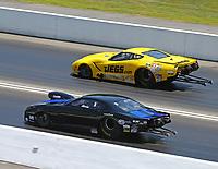 Jun 18, 2017; Bristol, TN, USA; NHRA pro mod driver Bob Rahaim (near) alongside Troy Coughlin Sr during the Thunder Valley Nationals at Bristol Dragway. Mandatory Credit: Mark J. Rebilas-USA TODAY Sports