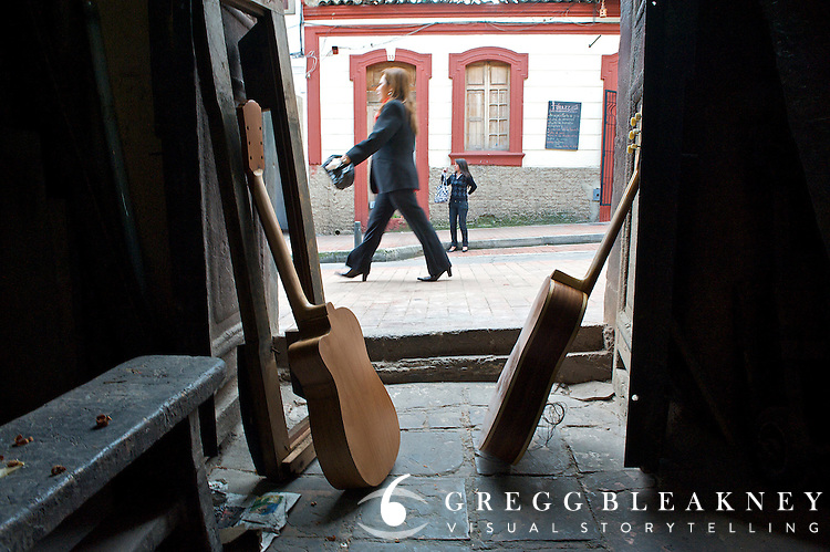 Inside the shop of Enrique, the Guitar Artisan of Bogota - Calle de los Mandolinas - Bogota - Colombia