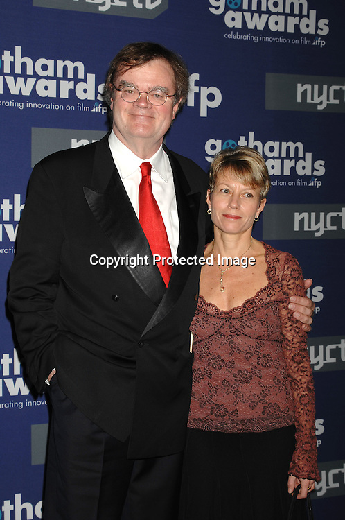 Garrison Keillor and wife Jenny..arriving at The 16th annual Gotham Awards on ..November 29, 2006 at Pier Sixty. ..Robin Platzer, Twin Images