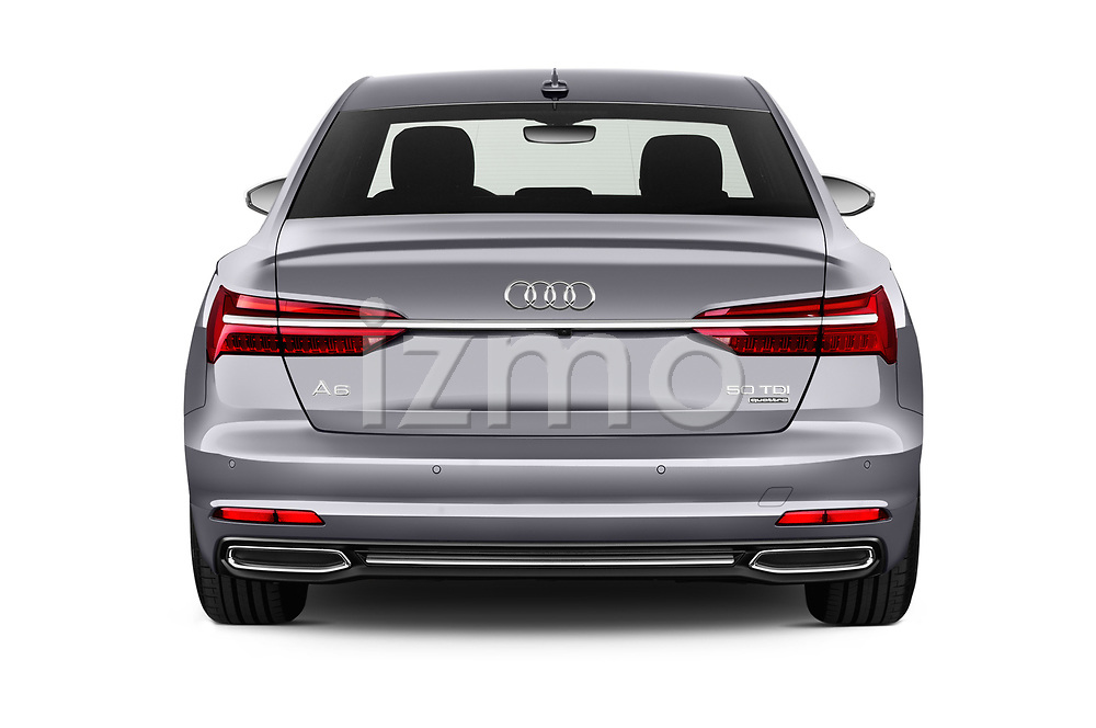 Straight rear view of a 2019 Audi A6 Design 4 Door Sedan stock images