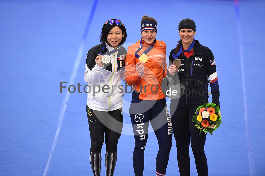 SPEEDSKATING: INZELL: Max Aicher Arena, 10-02-2019, ISU World Single Distances Speed Skating Championships, Podium 1500m Ladies, Miho Takagi (JPN), Ireen Wüst (NED), Brittany Bowe (USA), ©photo Martin de Jong