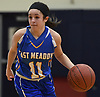 Julie Tanenblatt #11 of East Meadow moves the ball downcourt during a non-league girls basketball game against host South Side High School in Rockville Centre on Tuesday, Nov. 27, 2018. South Side won by a score of 68-29.