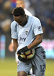 Gerso Fernandes  of Sporting KC hides the ball under his jersey after scoring in the first half against Toluca during their CONCACAF Champions League game on February 21, 2019 at Children's Mercy Park in Kansas City, KS.<br /> Tim VIZER/Agence France-Presse