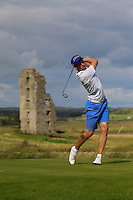 Alex Gleeson (Castle) on the 13th tee during Round 2 of The South of Ireland in Lahinch Golf Club on Sunday 27th July 2014.<br /> Picture:  Thos Caffrey / www.golffile.ie