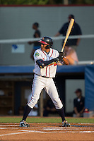 Jared James (5) of the Danville Braves at bat against the Pulaski Yankees at American Legion Post 325 Field on August 1, 2016 in Danville, Virginia.  The Yankees defeated the Braves 4-1.  (Brian Westerholt/Four Seam Images)