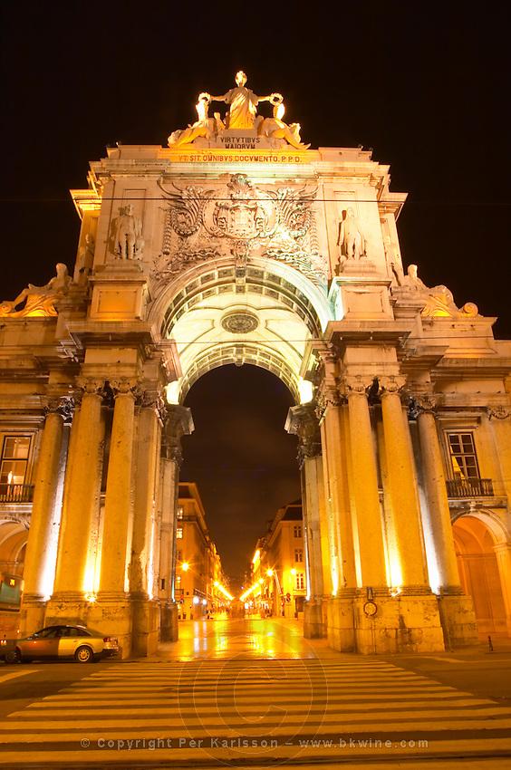 Arc de Triomphe baroque style on Praca do Comercio. Street view. Augusta street. Lisbon, Portugal