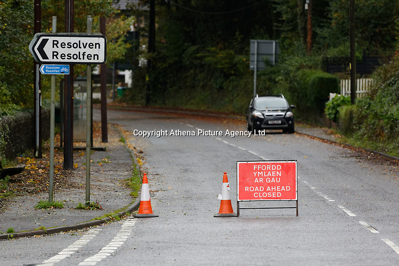 Pictured: The closed off B4242 near Glyn Neath, south Wales, UK. Saturday 13 October 2018<br /> Re: Flooding caused by Storm Callum in the Neath area, south Wales, UK.