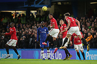 Harry Maguire of Manchester United heads the ball out of defence during Chelsea vs Manchester United, Premier League Football at Stamford Bridge on 17th February 2020