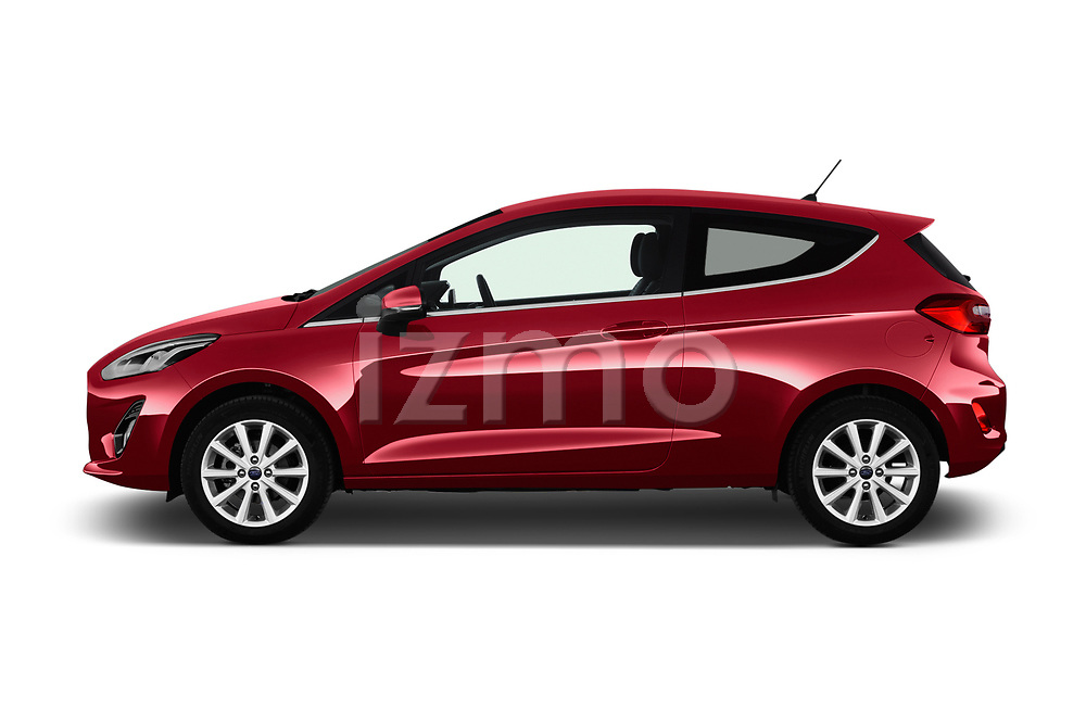 Car driver side profile view of a 2017 Ford Fiesta Titanium 3 Door Hatchback