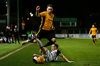 Robbie Willmott of Newport County is tackled by Luke Conlan of Morecambe during the Sky Bet League Two match between Newport County and Morcambe at Rodney Parade, Newport, Wales, UK. 23 January 2018